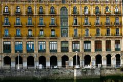 Modernist building facade in bilbao bailen sterret Stock Photos