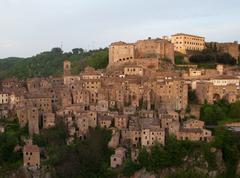 medieval sorano town in italy - stock photo