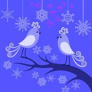 Two winter birds in love Stock Illustration