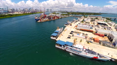 Aerial Miami Beach Coast Guard station Stock Footage