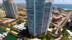 Aerial Miami Beach highrises elevation Stock Footage