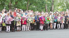 Russian first-graders at the solemn meeting before school. September 1. Russia Stock Footage