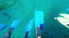 Divers waving fins in the water, Alanya, Turkey Stock Footage