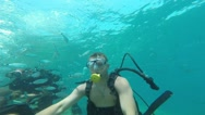 Diver blowing bubbles under water, Antalya, Turkey 10 Stock Footage