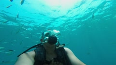 Stock Video Footage of diver blowing bubbles under water, Antalya, Turkey 7
