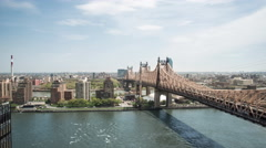 Queensboro Bridge Connecting Queens to Manhattan in NYC Timelapse of New York 4K Stock Footage