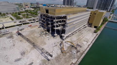 Aerial Miami Herald building destruction Stock Footage