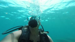 Stock Video Footage of diver blowing bubbles under water, Antalya, Turkey 4