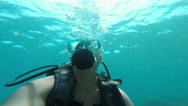Diver blowing bubbles under water, Antalya, Turkey 4 Stock Footage