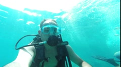 diver blowing bubbles under water, Antalya, Turkey 3 - stock footage