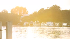 Sunset on Thames in Windsor, UK, GB, England, Europe Stock Footage
