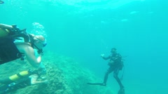 tourists go diving, Antalya, Turkey 3 - stock footage