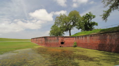 Louisiana Fort Jackson brick walls c Stock Footage