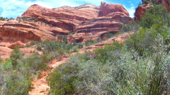 Rocky Trail And Red Rock Cliffs- Boynton Canyon- Sedona AZ Stock Footage