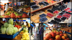 Vegetables fruits Market store place food multi screen  Stock Footage