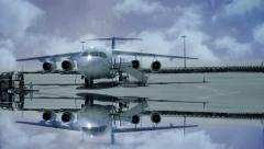 Airplane at airport. mirror reflection. time lapse. Stock Footage