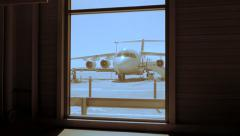 Airport gate background. airplane aircraft plane. flight flying. traveling Stock Footage