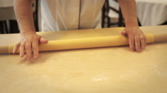 0419 Rolling dough to make italian pasta Stock Footage