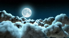 Flying Above the Clouds at Night Stock Footage