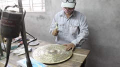 Workers castigate bronze casting products,Asia Stock Footage