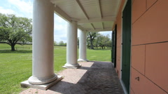 Columns along the veranda of a Louisiana plantation house Stock Footage