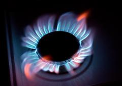 blue flames of a burning natural gas - stock photo