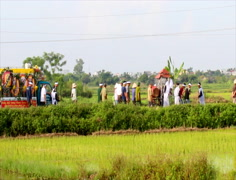 Group people attending the funeral in Asia Stock Footage