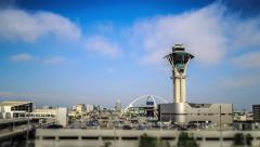 Los Angeles International Airport LAX. Clouds over control tower, 4K timelapse Stock Footage