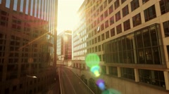 sunbeam shines between modern business buildings. modern office - stock footage