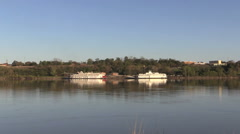 Mississippi River boats at Natchez under the Hill zoom in cx Stock Footage