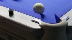 Game of billiards in pool room Stock Footage