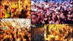 Music crowd concert dj festival multi screen Stock Footage