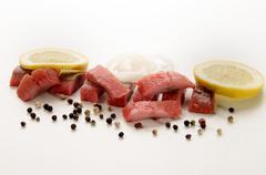 sliced pink herring fillet strips - stock photo