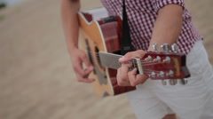 Acoustic guitar fretboard hand 4 Stock Footage