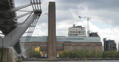 Tate Modern next to Millennium Bridge 4K Stock Footage