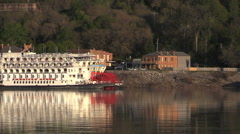Mississippi river excursion boat at Natchez Under the HIll zoom out cx Stock Footage