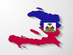 Haiti  country map with shadow effect presentation Stock Illustration