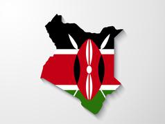 kenya country map with shadow effect presentation - stock illustration