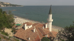 Aerial view panorama Balchik famous Castle summer day landmark silhouette iconic Stock Footage