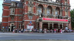 Big theatre and event building at Amsterdam Leidseplein - stock footage