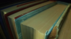 Book shelf, old books stock - stock footage