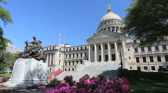 Mississippi State House statue and azaleas c Stock Footage