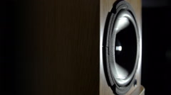 Loudspeaker playing music, shooting with rotation - stock footage