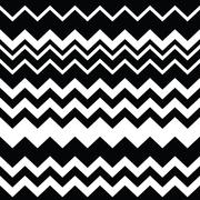 Tribal Aztec zigzag seamless black and white pattern - stock illustration
