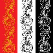 Three decorative flower seamless patterns Stock Illustration