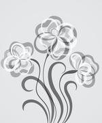 Grayscale EPS10 background with abstract flowers Stock Illustration