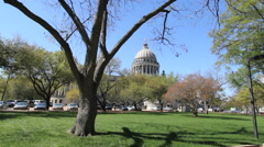 Mississippi statehouse framed in tree branch c Stock Footage