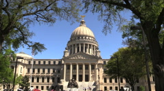 Mississippi statehouse dome and facade cx Stock Footage