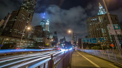 FDR Drive Cars Traffic Timelapse Manhattan New York City NYC Freedom Tower Stock Footage