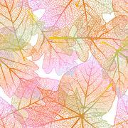 Detailed leaves seamless background. EPS 10 - stock illustration